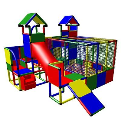 Moveandstic Mia - Spiellandschaft mit Bällebad, 2 Türmen und Kleinkindrutsche