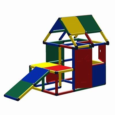 Moveandstic Lennard Spielhaus mit Podest und Kleinkindrutsche, Fenster und Tür