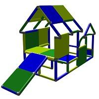 Moveandstic Spielhaus Kletterturm mit Babyrutsche, grün/blau