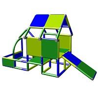Spielhaus Kletterturm mit Babyrutsche, grün/blau Seitenansicht