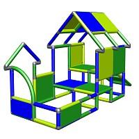 Spielhaus Kletterturm mit Babyrutsche, grün/blau Rückansicht