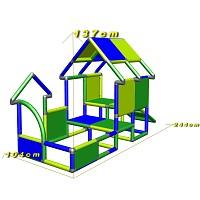 Spielhaus Kletterturm mit Babyrutsche, grün/blau Maße