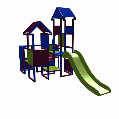Moveandstic Moritz  - Spielburg mit Rutsche - magenta-blau-apfelgrün