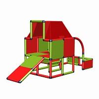 Moveandstic Fabian - Spielhaus mit Dach und Kleinkindrutsche rot-apfelgrün