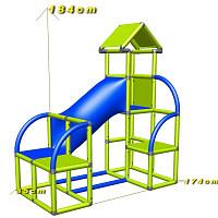 Felix - Kletterturm mit Krabbelröhre und Ausstieg in apfelgrün-rot Maße