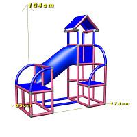 Felix - Kletterturm mit Krabbelröhre und Ausstieg in magenta-blau Maße