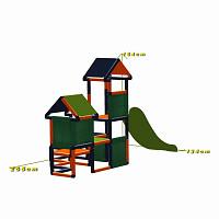 Spielturm Gesa - Kletterturm für Kleinkinder mit Rutsche und Stoffeinsätzen, orange/titangrau Maße