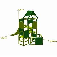Lisa - Großer Turm mit Rutsche in apfelgrün/grün Maße