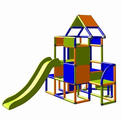 Moveandstic Lisa - Großer Turm mit Rutsche in orange/blau/apfelgrün