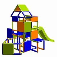 Lisa - Großer Turm mit Rutsche in orange/blau/apfelgrün