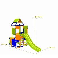 Lisa - Großer Turm mit Rutsche in orange/blau/apfelgrün Maße