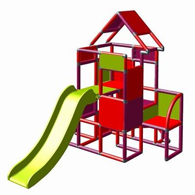 Moveandstic Lisa - Großer Turm mit Rutsche in magenta/rot