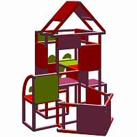 Lisa - Großer Turm mit Rutsche in magenta/rot