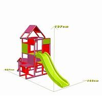 Lisa - Großer Turm mit Rutsche in magenta/rot Maße