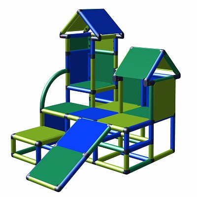 Moveandstic Kletterturm Luise in der Farbkombination blau-grün-apfelgrün