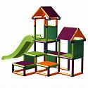 Spielturm Gesa - Kletterturm für Kleinkinder mit Rutsche und Stoffeinsätzen, apfelgrün/orange/magenta