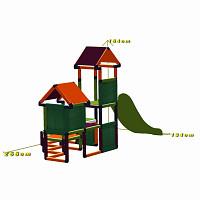Spielturm Gesa - Kletterturm für Kleinkinder mit Rutsche und Stoffeinsätzen, apfelgrün/orange/magenta Maße