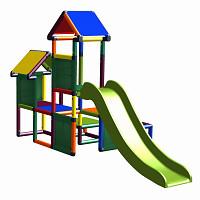 Spielturm Gesa - Kletterturm für Kleinkinder mit Rutsche und Stoffeinsätzen, multicolor