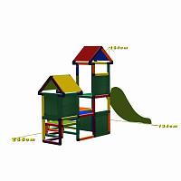 Spielturm Gesa - Kletterturm für Kleinkinder mit Rutsche und Stoffeinsätzen, multicolor Maße