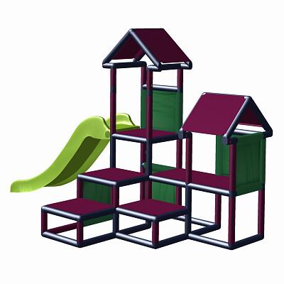 Spielturm Gesa - Kletterturm für Kleinkinder mit Rutsche und Stoffeinsätzen, Magenta/Titangrau