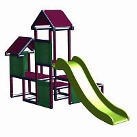 Spielturm Gesa - Kletterturm für Kleinkinder mit Rutsche und Stoffeinsätzen, apfelgrün/titangrau
