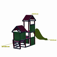 Spielturm Gesa - Kletterturm für Kleinkinder mit Rutsche und Stoffeinsätzen, apfelgrün/titangrau Maße