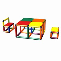 Moveandstic Elias - Sitzgruppe mit Tisch und 2 Stühlen, Multicolor