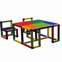 Moveandstic Roya - Kindertisch mit 2 Stühlen Multicolor
